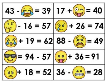 Emoji Algebra- Grade 2 (Addends/Minuends/Subtrahends within 100 - w/ regrouping)