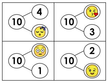 Emoji Algebra- Grade K (Making 10: Find Addends- Number Bonds & Addition)