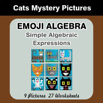 Emoji Algebra: Simple Algebraic Expressions - Cats Color By Number