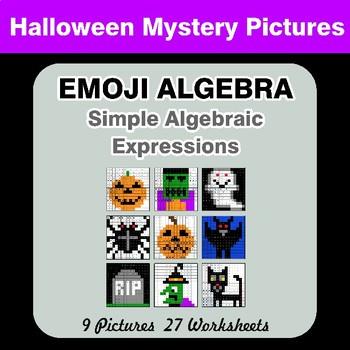 Emoji Algebra: Simple Algebraic Expressions - Halloween Color By Number
