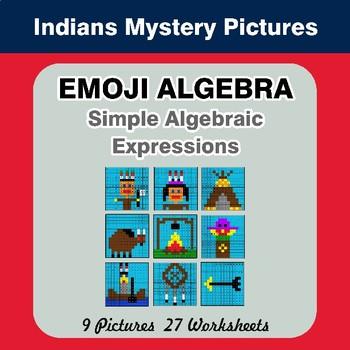 Emoji Algebra: Simple Algebraic Expressions - Indians Color By Number