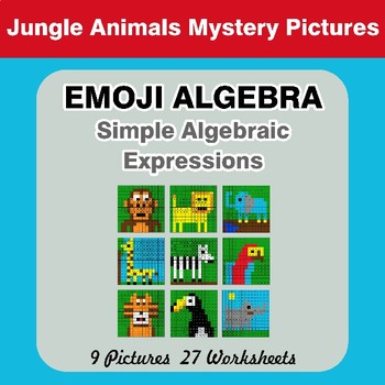 Emoji Algebra: Simple Algebraic Expressions - Jungle Animals Color By Number