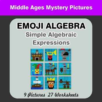 Emoji Algebra: Simple Algebraic Expressions - Middle Ages Color By Number