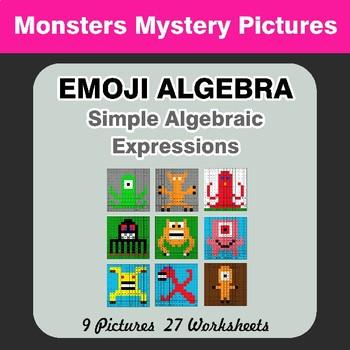 Emoji Algebra: Simple Algebraic Expressions - Monsters Color By Number