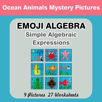Emoji Algebra: Simple Algebraic Expressions - Ocean Animals Color By Number