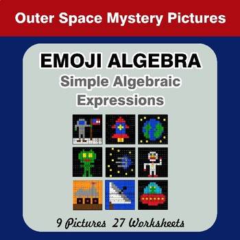Emoji Algebra: Simple Algebraic Expressions - Outer Space Color By Number