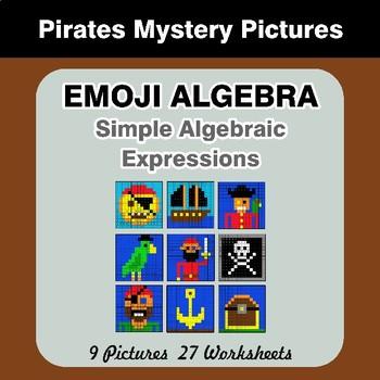 Emoji Algebra: Simple Algebraic Expressions - Pirates Color By Number
