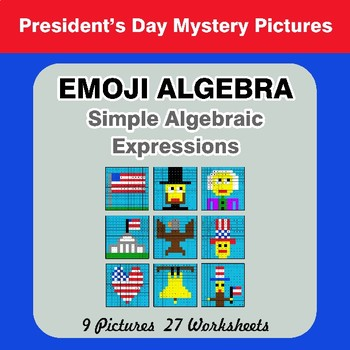 Emoji Algebra: Simple Algebraic Expressions - President's Day Color By Number