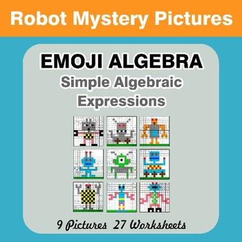Emoji Algebra: Simple Algebraic Expressions - Robots Color By Number