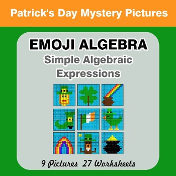 Emoji Algebra: Simple Algebraic Expressions - St. Patrick's Day Color By Number