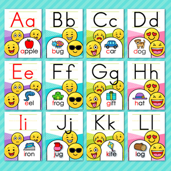Emoji Classroom Decor Alphabet ABC Posters