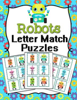 Robot Alphabet Letter Match Puzzles