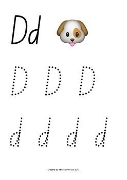 Emoji Alphabet Tracing (Dots) NSW Foundation Print
