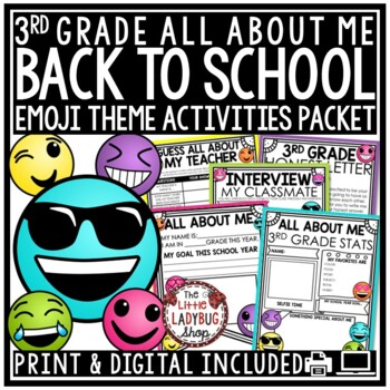 Emoji Back To School Activities 3rd Grade -All About Me & First Week of School