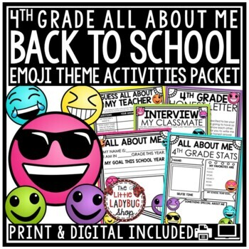 Emoji Back To School Activities 4th Grade - All About Me Poster & More