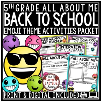 Emoji Back To School Activities 5th Grade - All About Me Poster & More