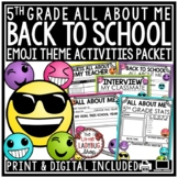Emoji Back To School Activities 5th Grade -All About Me & First Week of School