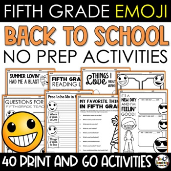 Emoji Back to School Activities Fifth Grade
