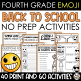 Emoji Back to School Activities Fourth Grade