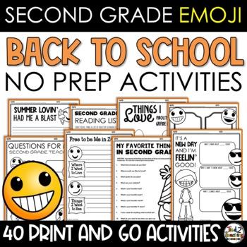 Emoji Back to School Activities Second Grade