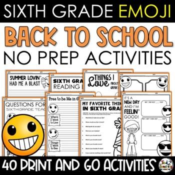 Emoji Back to School Activities Sixth Grade