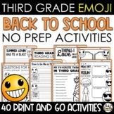 Emoji Back to School Activities Third Grade