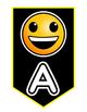 Emoji Banner Reading Freebie! Black Background with Yellow Trim