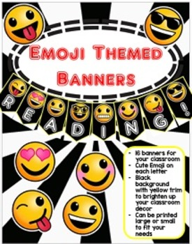 Emoji Banners- Black Background with Yellow Trim
