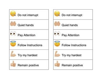 Emoji Behavior Chart and Self-Evaluation Check List
