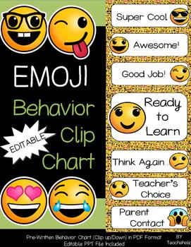 Emoji Behavior Clip Chart Set - Classroom Decor: EDITABLE