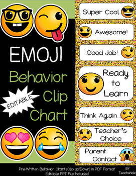 Emoji Behavior Clip Chart Set - Classroom Decor: EDITABLE