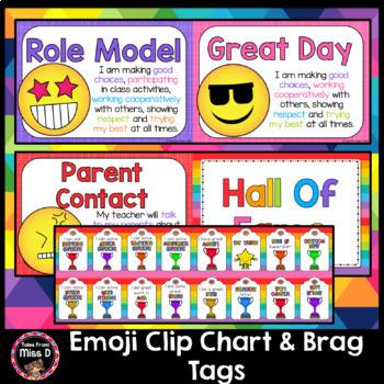 Emoji Behaviour Chart and Brag Tags