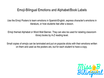 Emoji - Bilingual Emotions and Alphabet Banner/Library Labels