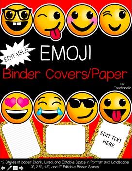Emoji Binder Cover and Paper Set - Classroom Decor: EDITABLE