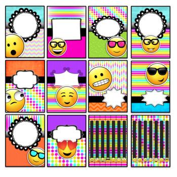 Emoji Binder Covers and Spines Editable