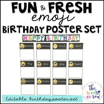 Emoji Birthday Poster Set
