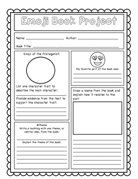 Emoji Book Project and Worksheets