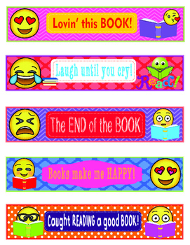Editable Emoji Bookmarks, Shelf Markers or Desk Name Plates