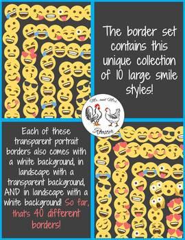 Emoji Borders and Frames - 340 Large Smile Borders {Portrait & Landscape}