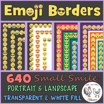Emoji Borders and Frames: 640 Small Smile Borders {Portrait, Landscape}