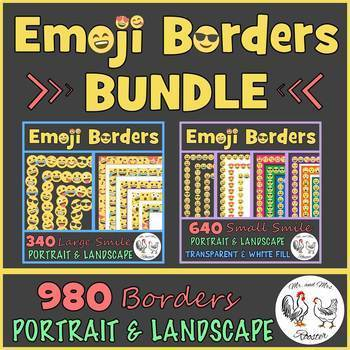 Emoji Borders and Frames BUNDLE - 980 Smile Borders {Portrait and Landscape}