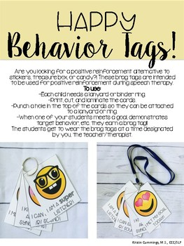 Happy Brag Tags for Speech & Language