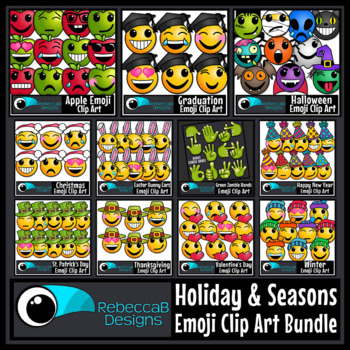 Emoji Bundle: Emoji Clip Art MEGA Bundle, Holiday Themed E