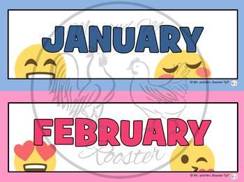 Emoji Calendar Bundle {Calendar, Months, Days, Etc.} Emoji Theme Decor