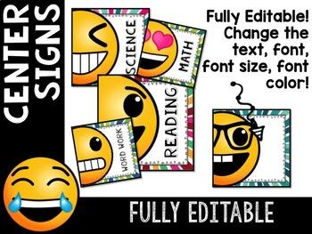 Emoji Classroom Decor: Editable Classroom Center Signs