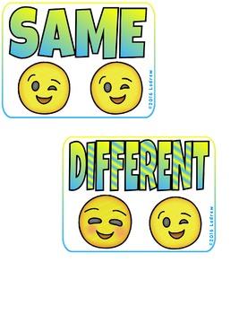 Emoji Centers Visual Discrimination Freebie Same Different Emoticons