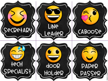 Emoji Chalkboard Decor Classroom Jobs and Helpers EDITABLE