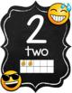 Emoji Chalkboard Decor Number Posters