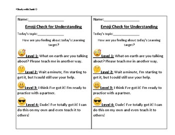 Emoji Check for Understanding with space for writing to prove learning.