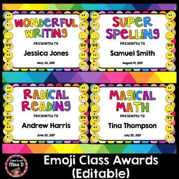 Emoji Class Awards Editable